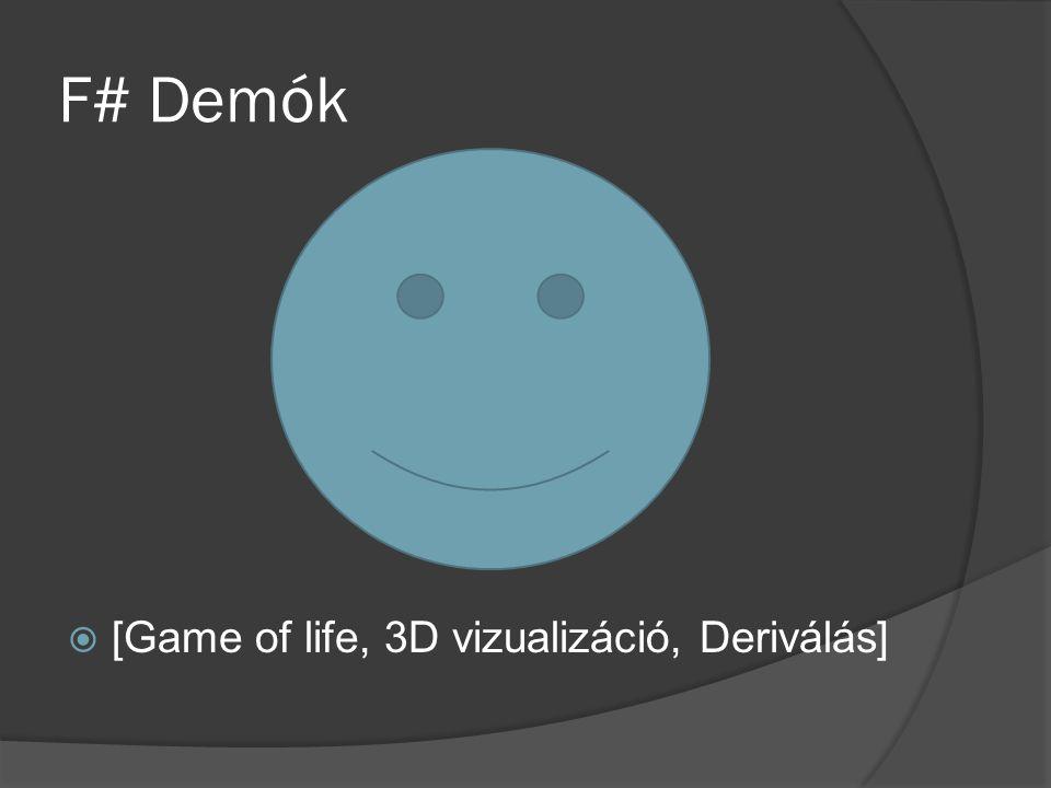 F# Demók [Game of life, 3D vizualizáció, Deriválás]